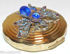 Vintage Unusual 1950's IRIS Butterfly Bug Bejewelled Powder Compact