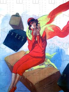 EXCESS BAGGAGE  FLAPPER Lady Abroad. Art Deco by Artgaze on Etsy