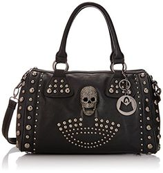 I love skull products i think they are really cute and stylish and compliment the rocker type style goes great with leather fashion or your favorite skinny jeans,leather boots,and rocking shirt. My favorite type of skull bags are black silver studded so here is a list of just that.
