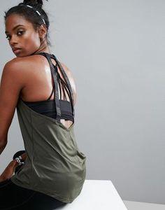 Nike Elastika Double Strap Tape Back Tank In Khaki