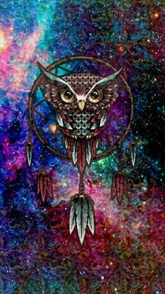 Image via We Heart It #dreamcatcher #owl #space
