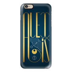 iPhone 6 Plus/6/5/5s/5c Case - Alexis (Gold Lettering Art Deco) ($40) ❤ liked on Polyvore featuring accessories, tech accessories, iphone case, gold iphone case, apple iphone cases, slim iphone case and iphone cover case