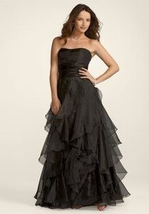 David's Bridal Black Tiered Organza Ball Gown Style F14196 Dress