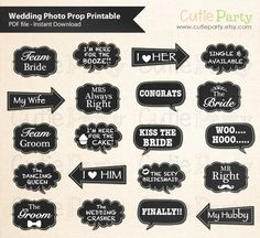 Wedding Photo Booth Prop, Chalkboard Wedding Speech Bubble Photo Booth Prop…