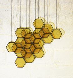 Stained Glass Honeycomb Drops by BespokeGlassTile on Etsy
