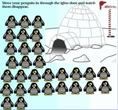 "Winter Penguin Themed Attendance For SmartBoard. Drag the penguin through the igloo and watch them disappear.    Added second page for directions on how to change ""name"" to your students name and then group."