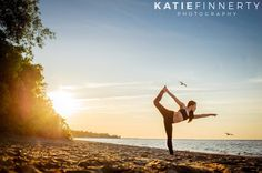 Sunset silhouette during this beach Pilates and Yoga photo session at Rochester NY's Durand Eastman Beach | www.katiefinnertyphotography.com/blog/2016.3.9.hannah