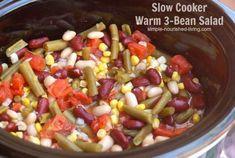 WW Simply Filling Slow Cooker Bean Salad, a warm salad perfect for pot lucks - only 100 calories, 2 Weight Watchers Freestyle SmartPoints! Slow Cooker Beans, Slow Cooker Recipes, Crockpot Recipes, Ww Recipes, Healthy Toddler Meals, Healthy Snacks, Toddler Food, Healthy Eating, 3 Bean Salad