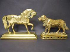 Antique English Brass Figural Doorstops www.JJamesAuctions.com