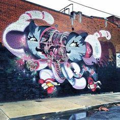 Street art in Detroit, USA by Nychos and Pursue | summer street art, urban art, graffiti art