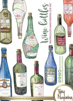 Wine Bottles, Glass Bottles, colored clip art images watercolor hand painted PNG transparent background and JPG for blog cards invitations