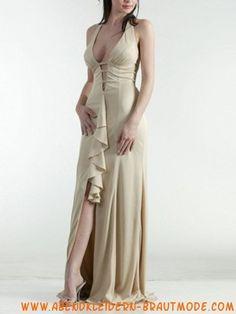 Sexy elegante Abendkleider aus Stretchsatin V-Ausschnitt rückenfrei