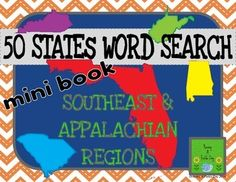 This word search mini book will help student relate historical and famous figures, past events, Native American tribes, natural and economic resources, and more to the states of the Southeast and Appalachian regions. $