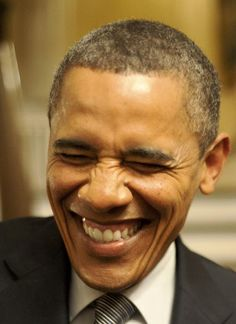 I don't think I have EVER seen another pic of a president laugh like this....makes ya think...I love it!   Barak Obama