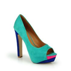 ColorBlock Peep Toe Platform High Heel Pump Teal Multi ~ Details ->> http://amzn.to/K3sUWl
