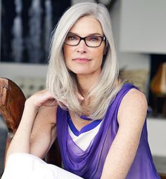 Roxanne Gould for Fielmann Glasses Campaign long grey hair older women