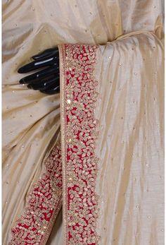 Pure Tussar Embroidery-Beige-Bead Work-WG203507 Embroidery Suits Design, Embroidery Fashion, Designer Sarees Wedding, Saree Wedding, Sari Dress, Elegant Saree, Work Sarees, Indian Designer Outfits, Fancy Sarees
