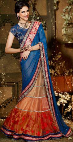 Designer Lehenga Style Saree In Net Fabric