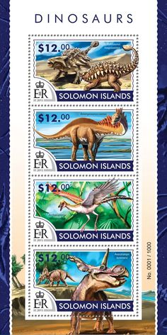 Post stamp Solomon Islands SLM 15304 aDinosaurs (Ankylosaurus magniventris, Amargasaurus cazaui, Archaeopteryx lithographica, Avaceratops lammersi)