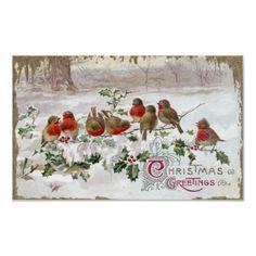 Eight English Robins on Holly Vintage Christmas Print