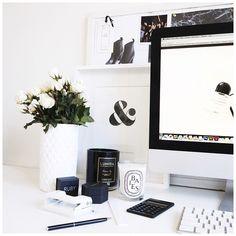 Desk Inspo from #anorganisedlife - Love Becks monochrome style