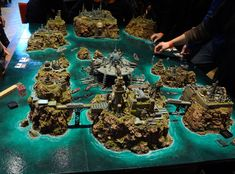 Warhammer 40k game board, truly beautiful table to play on.  Fighting on those bridges must be epic.