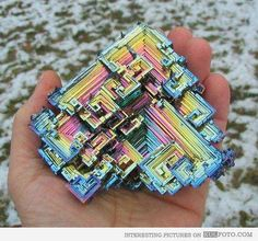 9.) Bismuth and its iridescent surface.