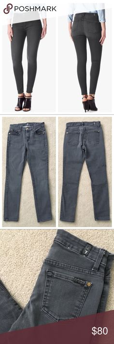 "7FAM👖High Waist Ankle Skinny in Bastille Grey Beautiful preloved condition, no stains, little wear, still has original stitching from back retail tag at the waistband.  A shorter version of the regular Skinny meant to hit above ankle. Inseam 25"",  features a high waist for a fashion forward fit. Faded darker grey wash, whiskers and subtle tacking at the waistband, translates to a sexy, modern look. Complete with dark grey labels. Great stretch. 9.4 oz, 70% Cotton, 27% Polyester, 3% Spandex…"