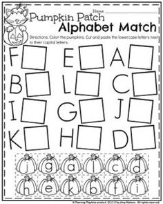 Preschool Alphabet Worksheets for October - Pumpkin Patch Alphabet Matching upper and lowercase.