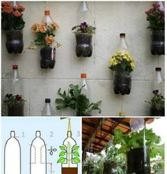 How to make a hanging garden out of plastic bottles. Plastic Bottle Planter, Recycle Plastic Bottles, Recycled Garden, Recycled Crafts, Diy Crafts, Creative Arts And Crafts, Bottle Garden, Creation Deco, Flower Pots