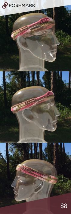 "Pink camouflage headband Circumference: ~19"".  Length, at widest: ~1.5"".  100% acrylic. Accessories Hair Accessories"
