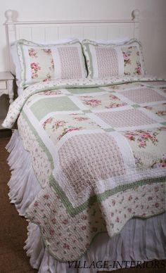 SPRING PATCHWORK PINK ROSES CHIC n SHABBY KING QUILT + SHAMS SET :  100% COTTON