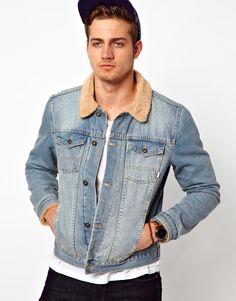 Denim Jacket with borg collar! COOL