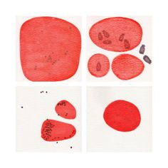 CELLS 4 original red watercolour paintings and by FrancescaLancisi, $115.00