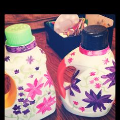 Homemade watering can! Recycle detergent bottles, drill holes on top & decorate!