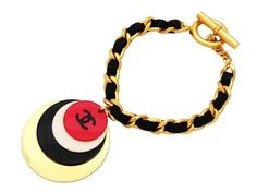 Vintage Chanel bracelet CC logo charms black leather