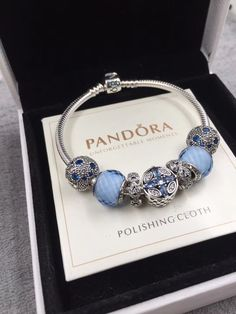 $154 Pandora blue with 7pcs charm bracelet