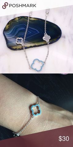 Blue turquoise clover silver bracelet Delicate and dainty, yet this small bracelet can accentuate any wardrobe. Silver with clasp. New stamped .925 Jewelry Bracelets