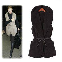 2014 Fashion Dámske Ladies Mikina Faux Lamb Fur Long Vest Jacket Coat s klobúkom dopravou zadarmo na predaj 11 novembra (Čína (pevninská časť))