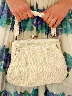 The Cats Pajamas - Vintage White Plastic Beaded Purse Lumared Petite Bead 1940s, $60.00 (http://www.thebestvintageclothing.com/vintage-white-plastic-beaded-purse-lumared-petite-bead-1940s/) #WinBestVintage