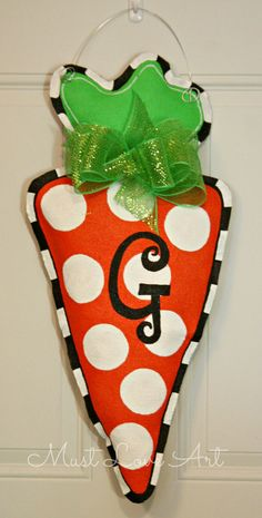 Easter Carrot Burlap Door Hanger Decoration by MustLoveArtStudio, $35.00