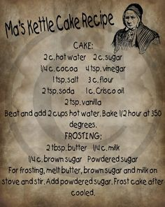 Primitive Ma's Kettle Cake Recipe Label Jpeg Digital Image Feedsack Logo for Pillows Labels Hang tags Magnets Ornies Old Recipes, Retro Recipes, Vintage Recipes, Cookbook Recipes, Baking Recipes, Cake Recipes, Dessert Recipes, Recipies, Amish Recipes