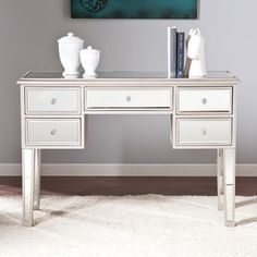 Amazing offer on Mirrored Console Table Silver Glam Rectangle Acrylic Glass MDF Matte Finish Drawers Includes Hardware Storage online – Totrendyhot - Modern Mirrored Accent Table, Narrow Console Table, Modern Console Tables, Sofa End Tables, Mirrored Vanity, Vanity Desk, Mdf Frame, Mirrored Furniture, Coaster Furniture