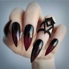 The Best Nail Art Designs – Your Beautiful Nails Acrylic Nail Designs, Nail Art Designs, Nails Design, Salon Design, Goth Nails, Witchy Nails, Long Nail Art, Uñas Fashion, Fashion Trends