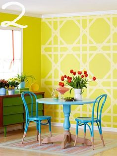 this for my desk tops- paint yellow, set this pattern, paint white. So it will be the opposite of this wall, but same pattern.