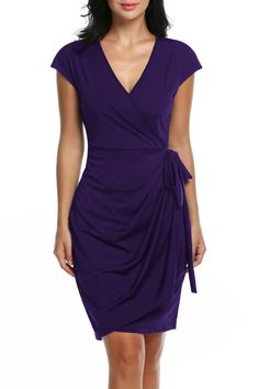 e5b6bf7595d Zeagoo Womens Classic Cap Sleeve VNeck Draped TieBelt Cocktail Wrap Dress  Purplepro Large    You