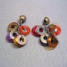Big Ring Disco Clip On Earrings Long Dangle Earrings by PandPF
