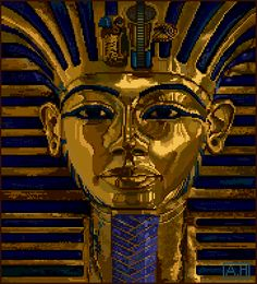 The iconic King Tut pixel artwork that served as a demonstration of the revolutionary graphics capabilities of the new Commodore Amiga computer in 1985. King Tut was created using the landmark pixel editor Deluxe Paint, a.k.a. Dpaint.