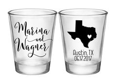 "100x Personalized Shot Glasses Wedding Favors 2 Side | 1.75 oz Clear | Custom State Map (1A) | Choose Imprint Color | by ""ThatWedShop"" on Etsy 