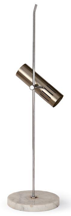 Alain Richard; Chromed Metal and Marble Table Lamp for Disderot, c1965.